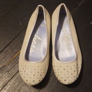 Tan canvas silver studded ballet flats.